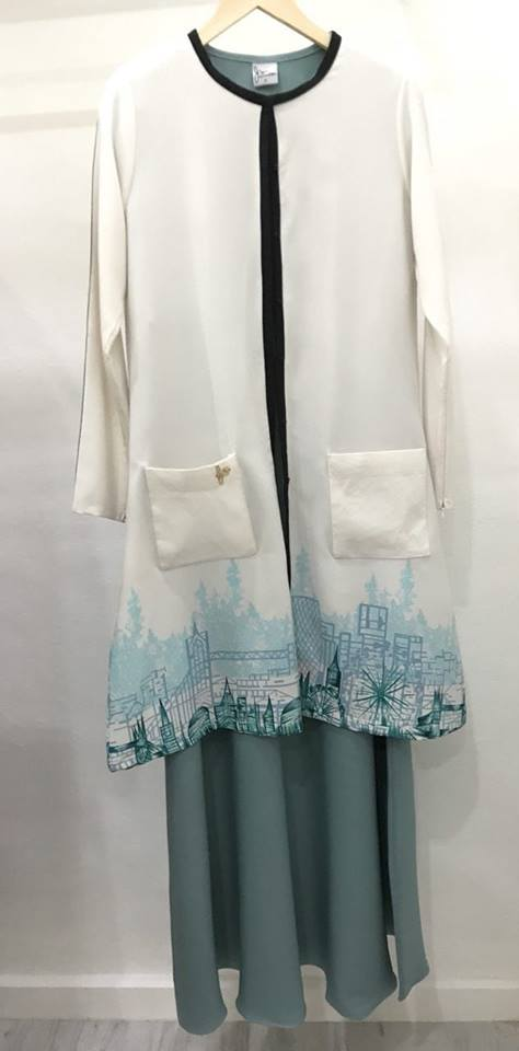 SUIT MUSLIMAH CARDIGAN JUBAH CLAUDYA SPEAR MINT 5