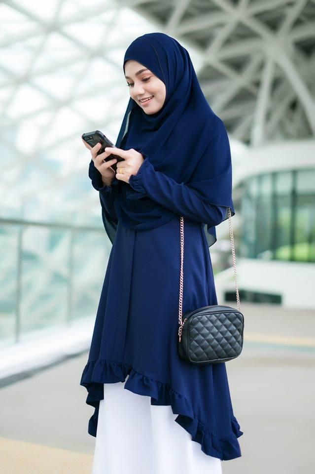 BLOUSE DUBAI COMO CREPE QALISHA NAVY BLUE 3