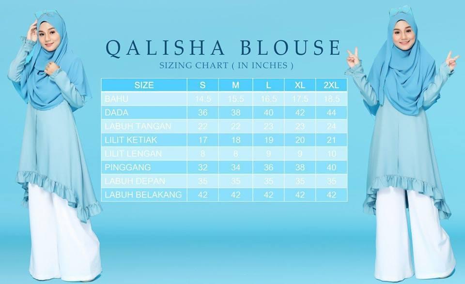 BLOUSE DUBAI COMO CREPE QALISHA UKURAN