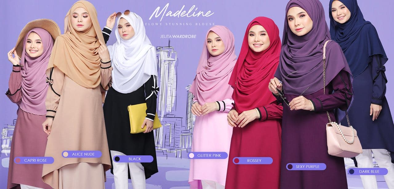 BLOUSE MUSLIMAH MODEN KE OFFICE MADELINE ALL