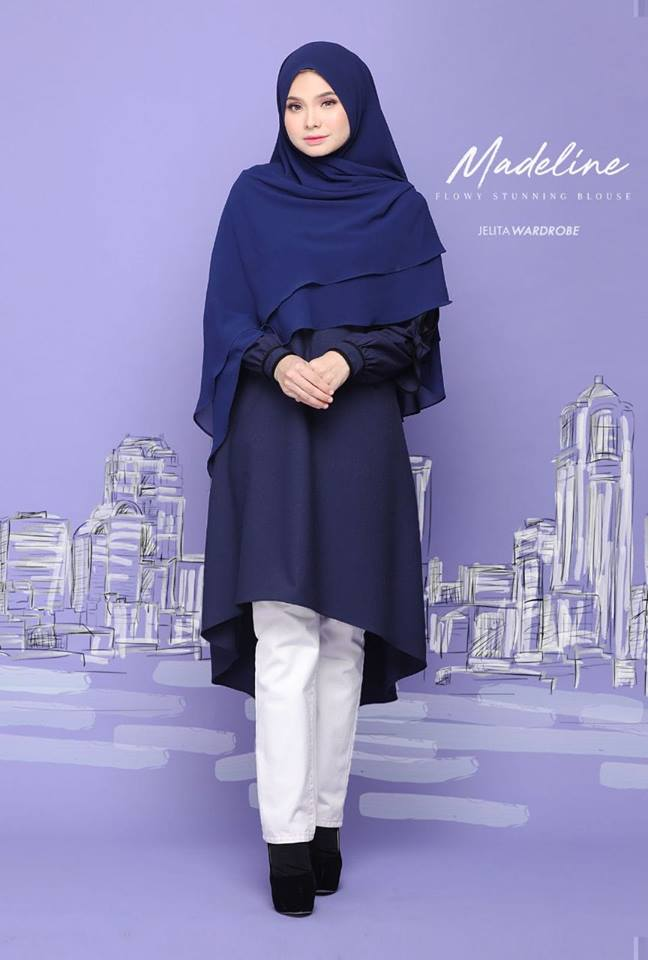 BLOUSE MUSLIMAH MODEN KE OFFICE MADELINE DARK BLUE 1