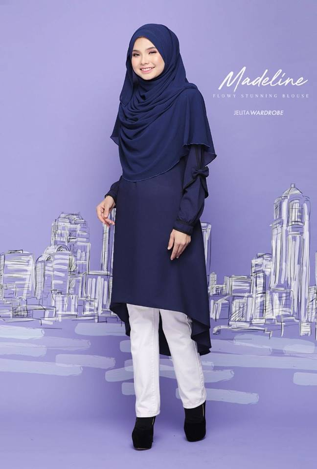 BLOUSE MUSLIMAH MODEN KE OFFICE MADELINE DARK BLUE 2