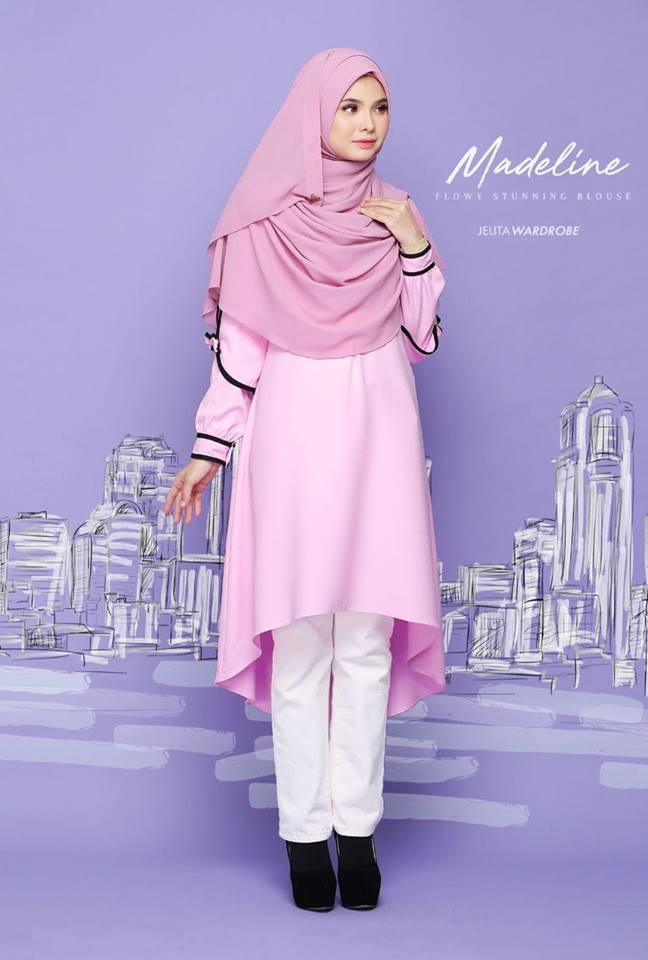 BLOUSE MUSLIMAH MODEN KE OFFICE MADELINE GLITTER PINK 1