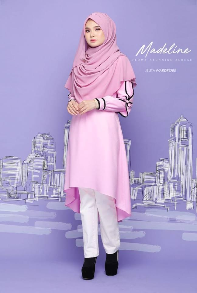 BLOUSE MUSLIMAH MODEN KE OFFICE MADELINE GLITTER PINK 2