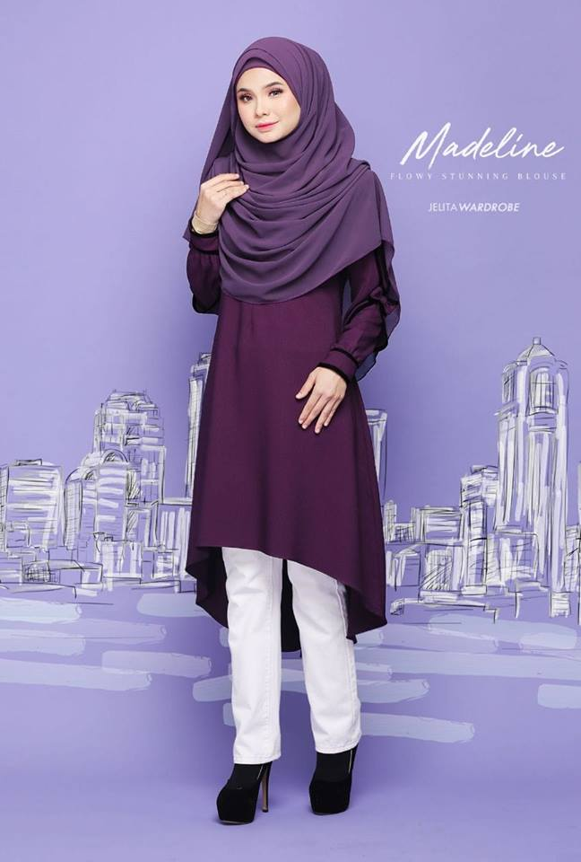 BLOUSE MUSLIMAH MODEN KE OFFICE MADELINE SEXY PURPLE 1