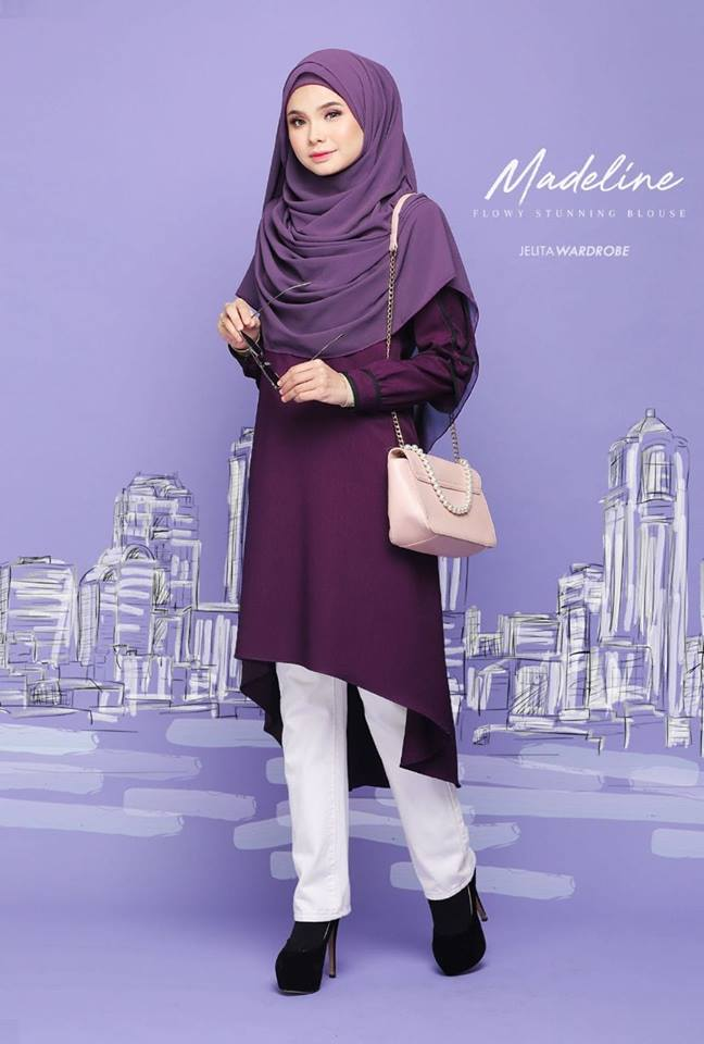 BLOUSE MUSLIMAH MODEN KE OFFICE MADELINE SEXY PURPLE 2