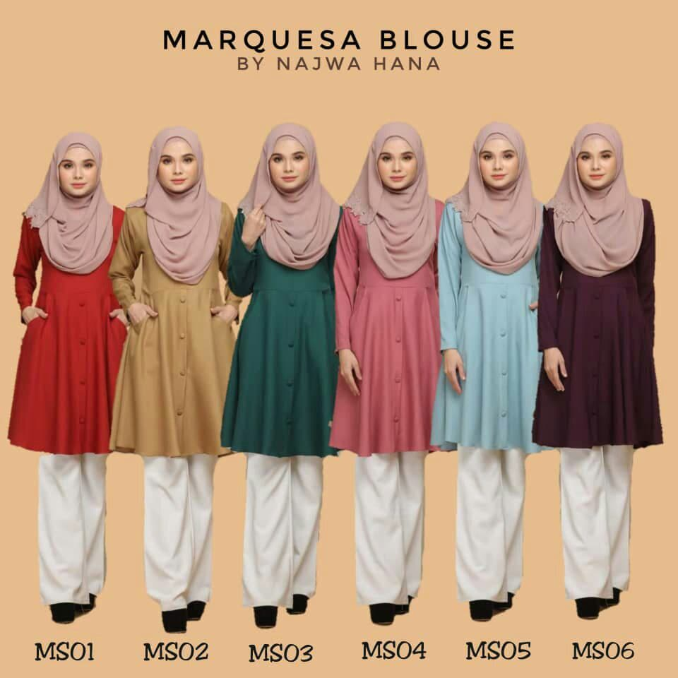 BLOUSE MUSLIMAH MODEN LABUH TERKINI POLY CREPE MARQUESA MS ALL