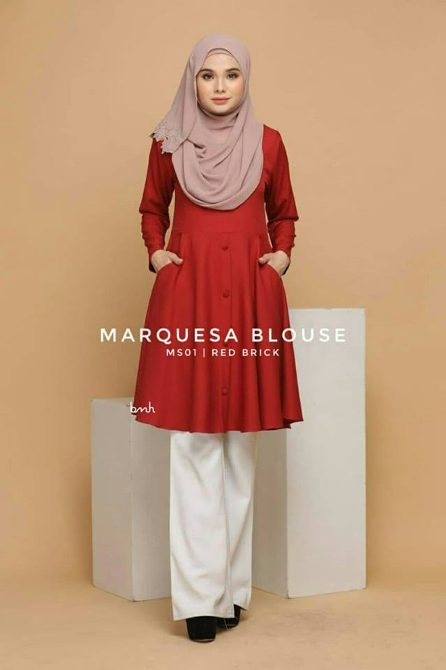 BLOUSE MUSLIMAH MODEN LABUH TERKINI POLY CREPE MARQUESA MS01 1