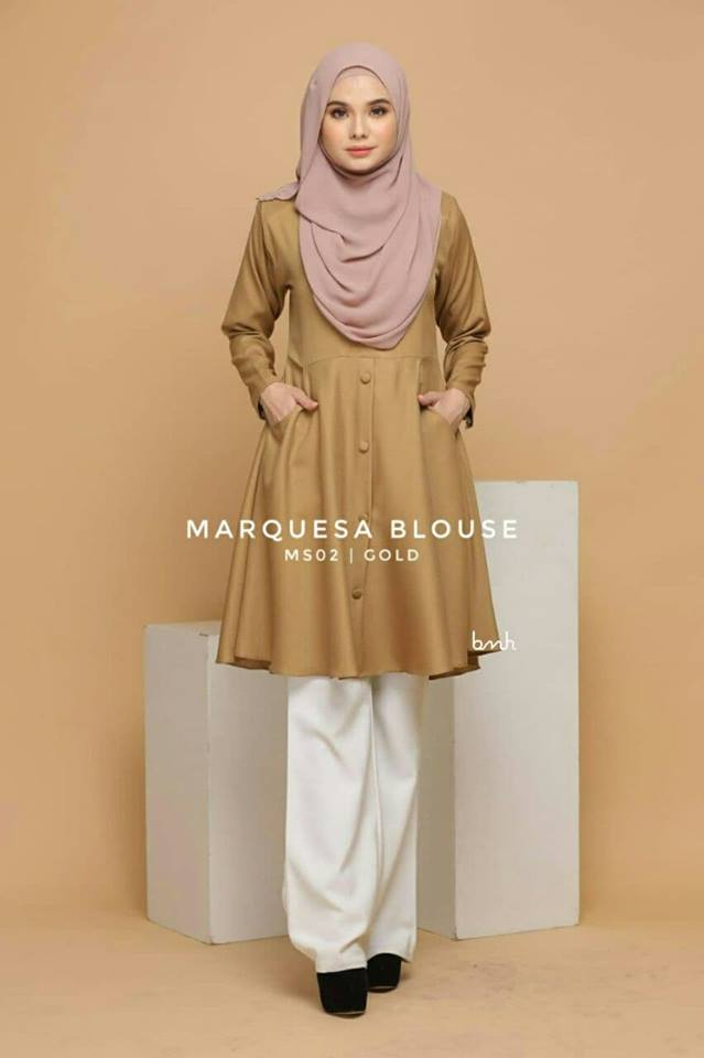 BLOUSE MUSLIMAH MODEN LABUH TERKINI POLY CREPE MARQUESA MS02 1