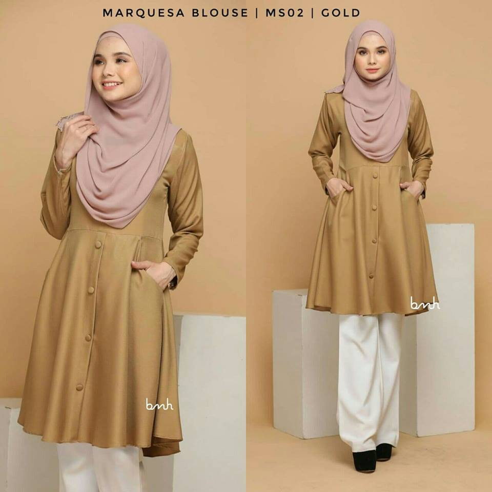 BLOUSE MUSLIMAH MODEN LABUH TERKINI POLY CREPE MARQUESA MS02 2