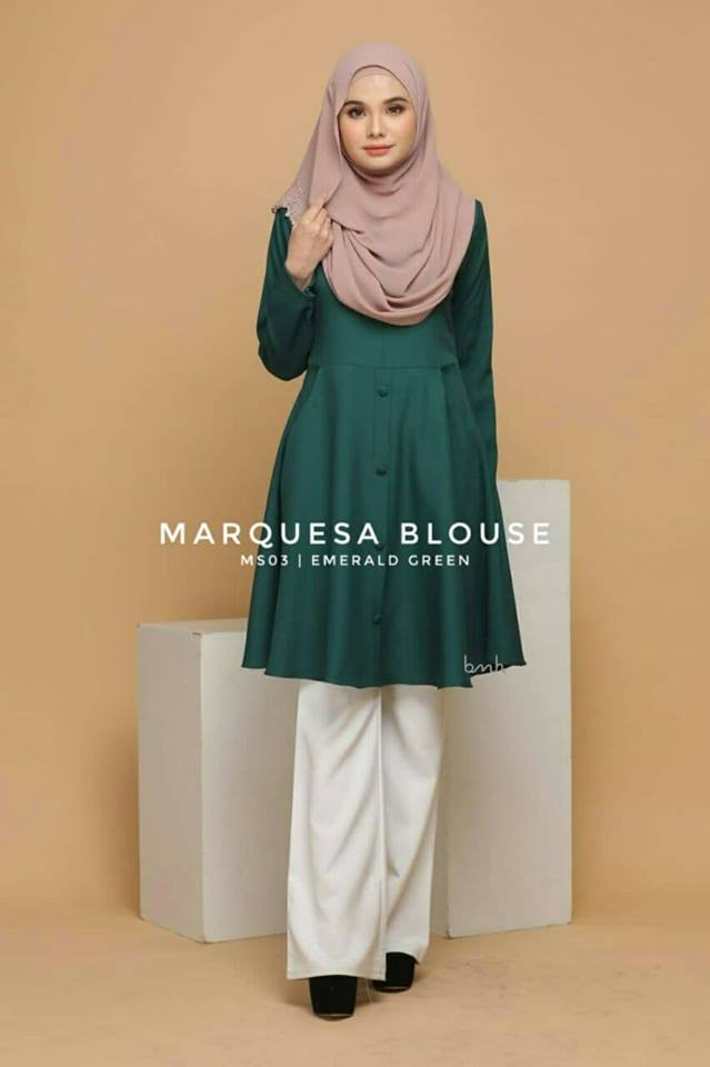 BLOUSE MUSLIMAH MODEN LABUH TERKINI POLY CREPE MARQUESA MS03 1