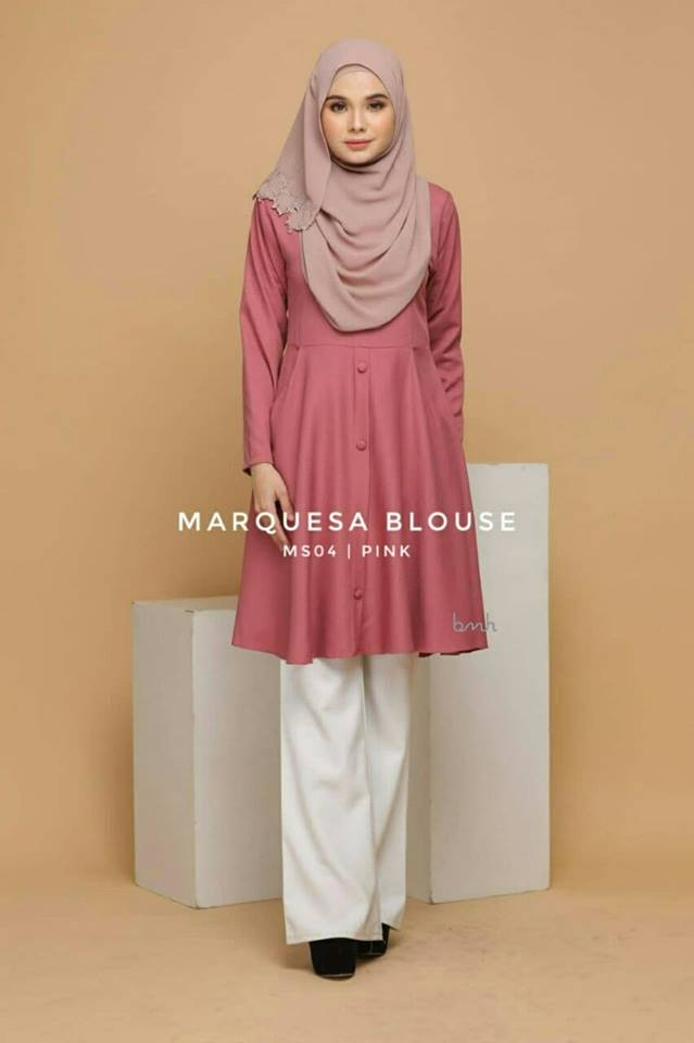 BLOUSE MUSLIMAH MODEN LABUH TERKINI POLY CREPE MARQUESA MS04 1