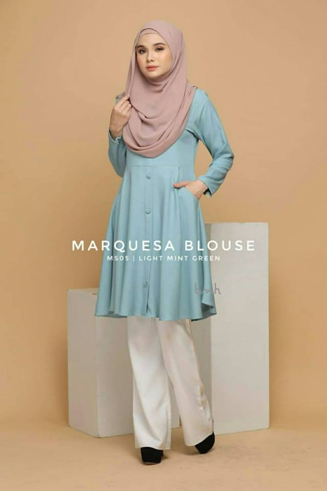 BLOUSE MUSLIMAH MODEN LABUH TERKINI POLY CREPE MARQUESA MS05 1
