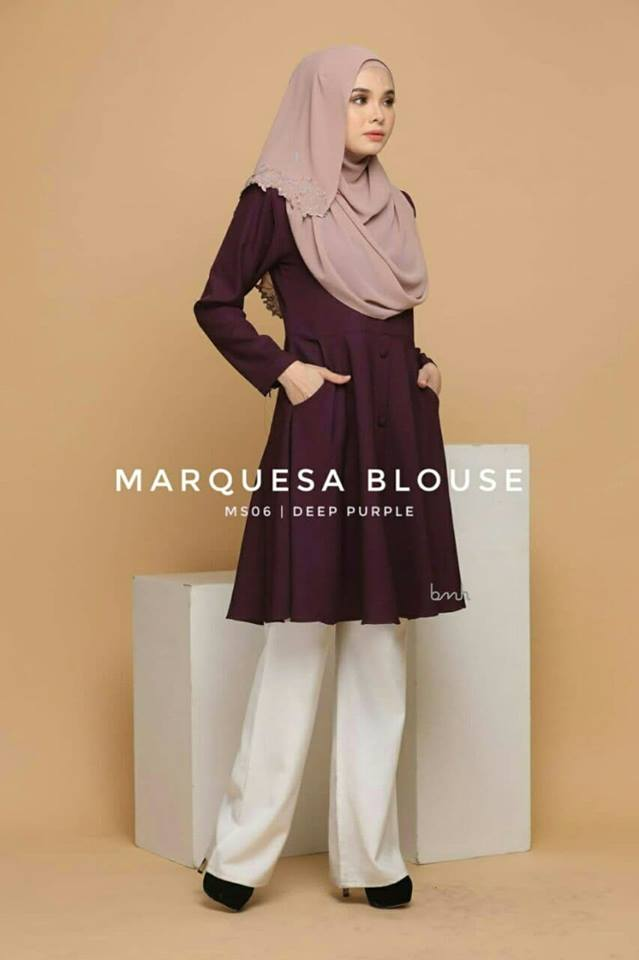BLOUSE MUSLIMAH MODEN LABUH TERKINI POLY CREPE MARQUESA MS06 1