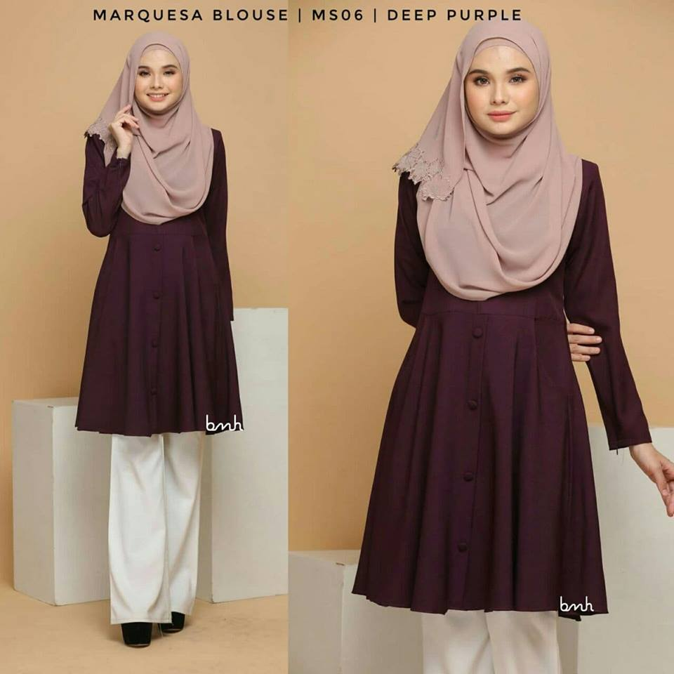 BLOUSE MUSLIMAH MODEN LABUH TERKINI POLY CREPE MARQUESA MS06 2
