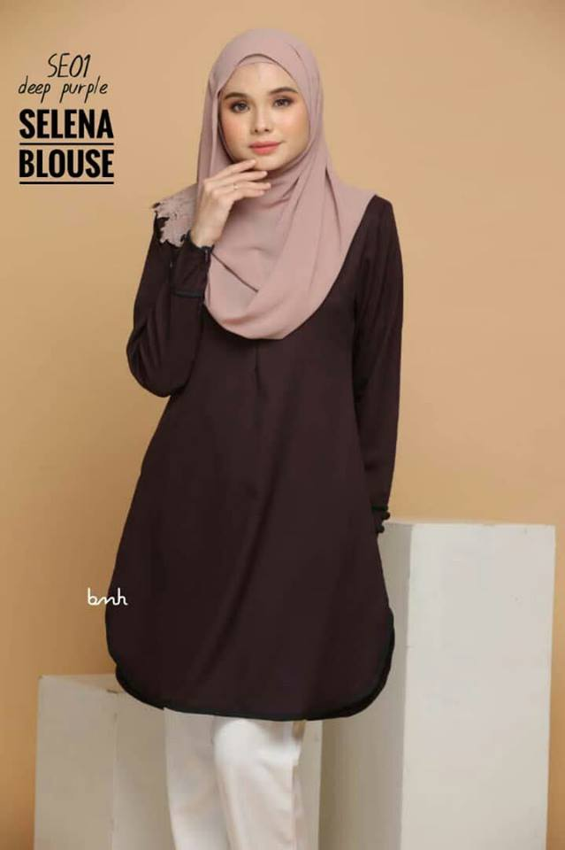 BLOUSE MUSLIMAH SELENA SE01 DEEP PURPLE 1