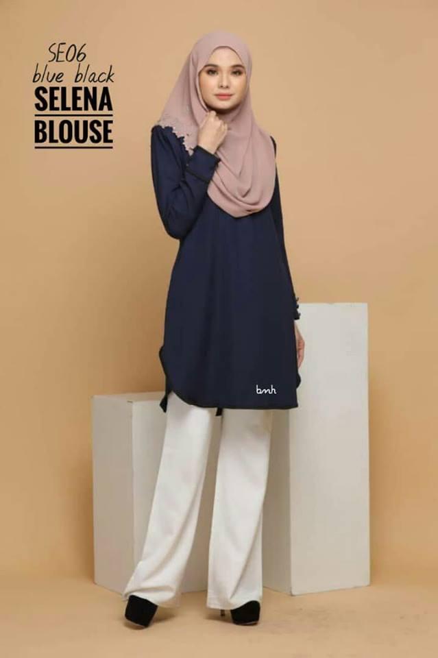 BLOUSE MUSLIMAH SELENA SE06 BLUE BLACK 1