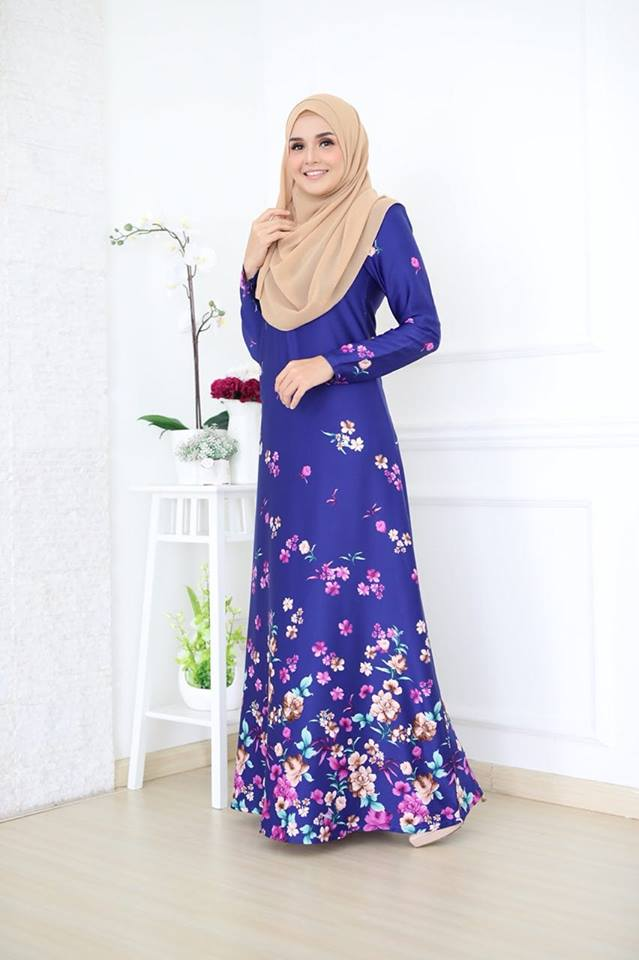 JUBAH KOREAN SILK ALYA 2.0 BIRU 1