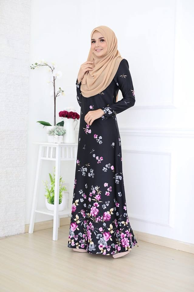 JUBAH KOREAN SILK ALYA 2.0 BLACK 1