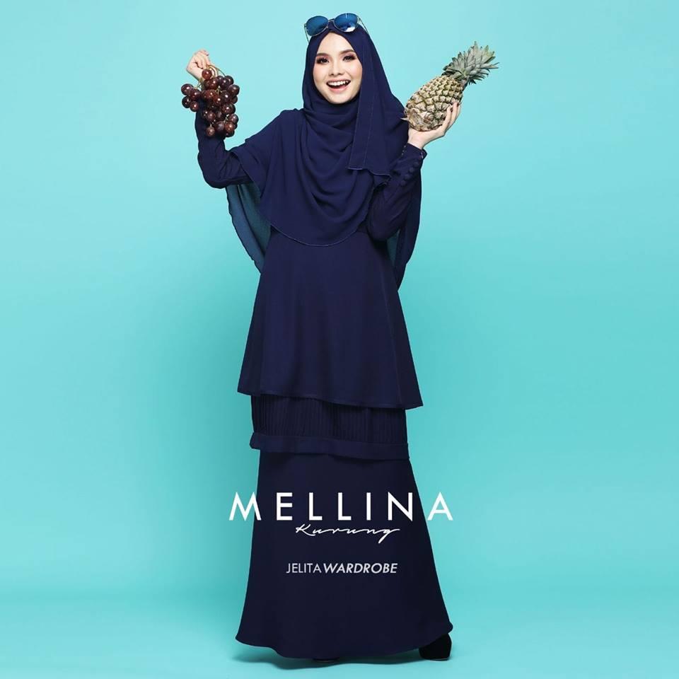 KURUNG MODEN MUSLIMAH MELLINA NAVY BLUE 2