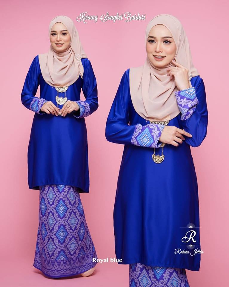 KURUNG MODEN SONGKET BAIDURI ROYAL BLUE 1
