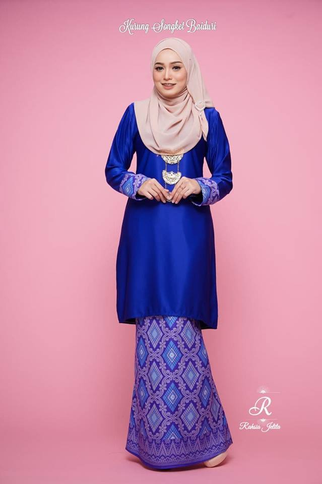 KURUNG MODEN SONGKET BAIDURI ROYAL BLUE 2