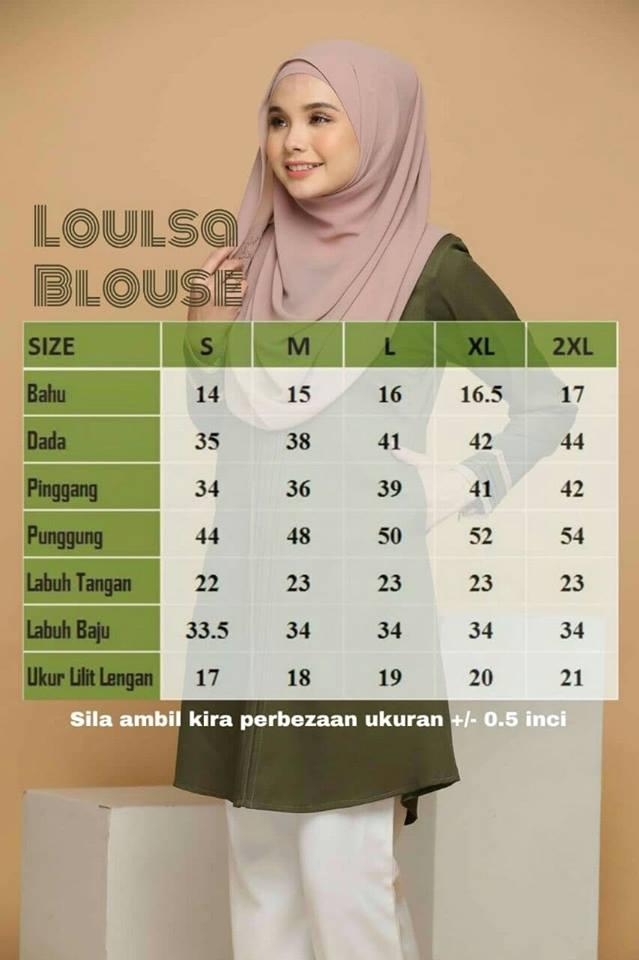 BLOUSE MUSLIMAH LABUH KASUAL CREPE LOULSA ukuran
