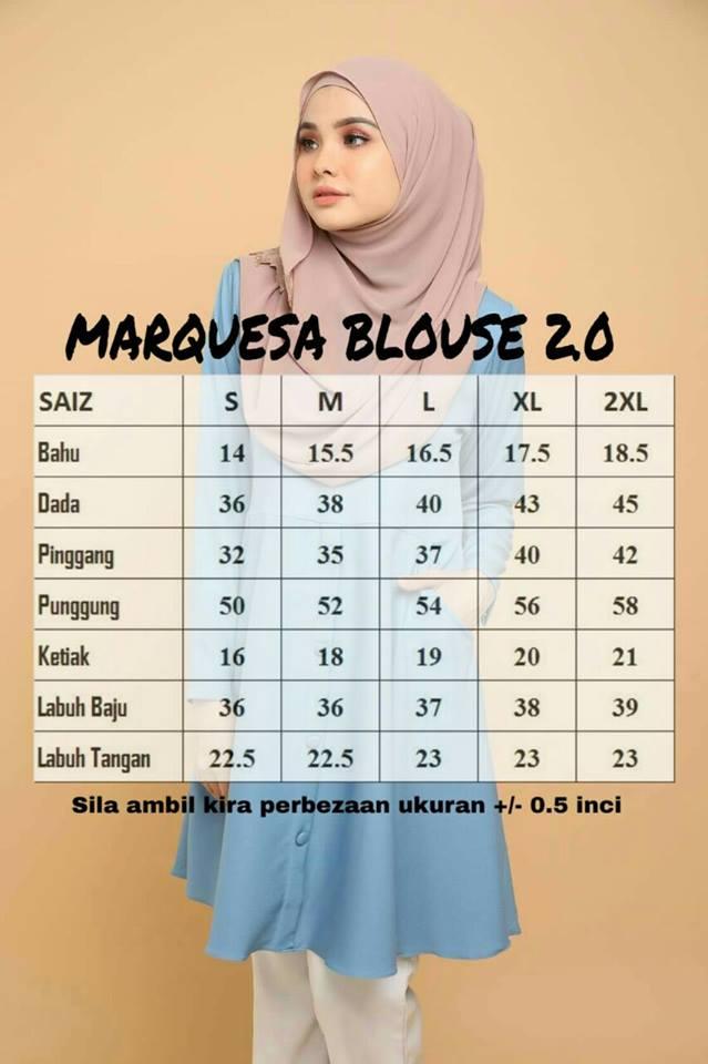 BLOUSE MUSLIMAH TERKINI CREPE MARQUESA MS UKURAN