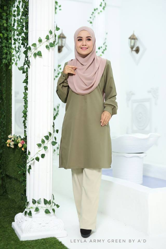 BLOUSE CREPE LEYLA ARMY GREEN 1