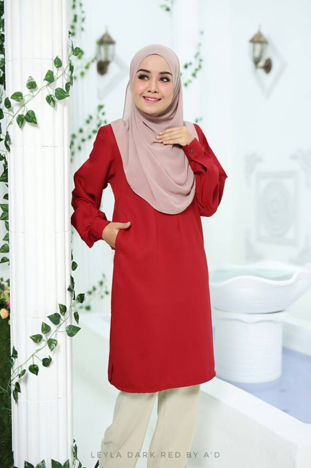 BLOUSE CREPE LEYLA DARK RED 1