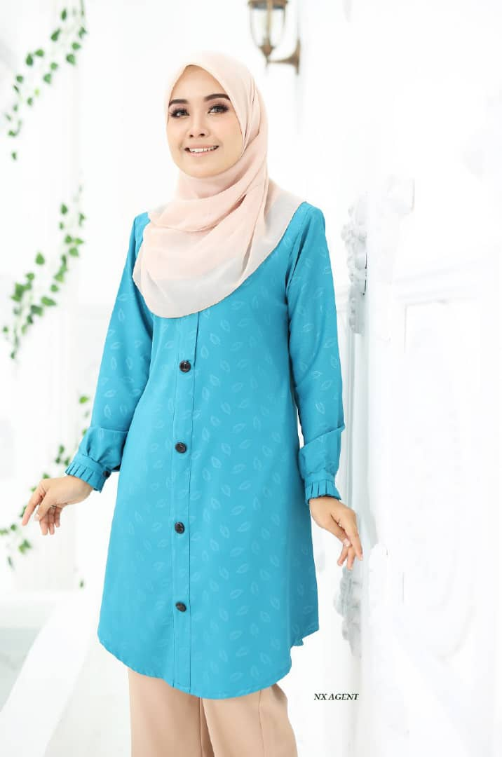 BLOUSE MUSLIMAH IRIS EMBOSSED AQUA DEEP BLUE 1