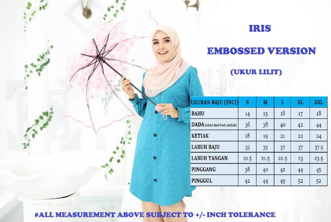 BLOUSE MUSLIMAH IRIS EMBOSSED UKURAN