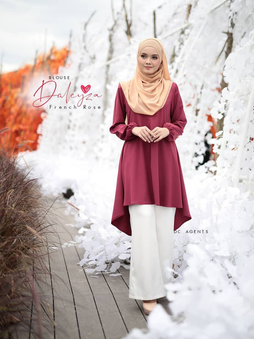 BLOUSE MUSLIMAH TERKINI LUXURY CREPE DALEYZA FRENCH ROSE 2