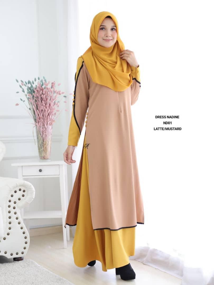 DRESS MUSLIMAH TERKINI CREPE NADINE ND01 1