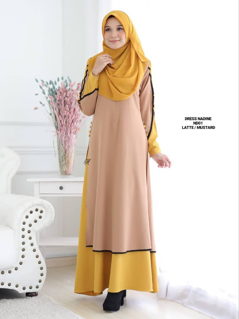 DRESS MUSLIMAH TERKINI CREPE NADINE ND01 3
