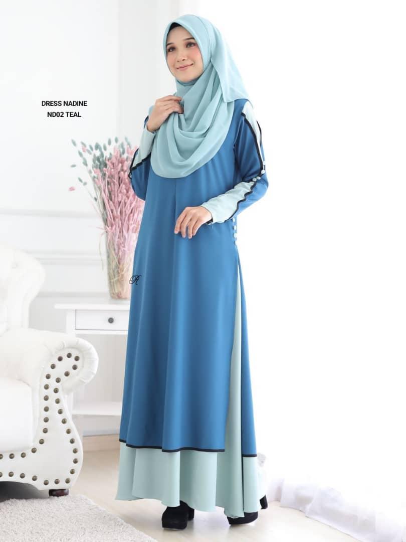 DRESS MUSLIMAH TERKINI CREPE NADINE ND02 2