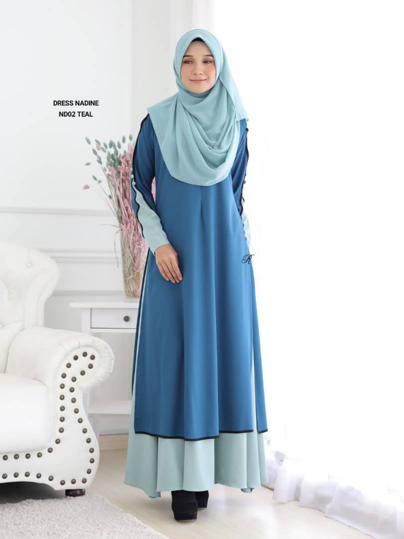 DRESS MUSLIMAH TERKINI CREPE NADINE ND02 3