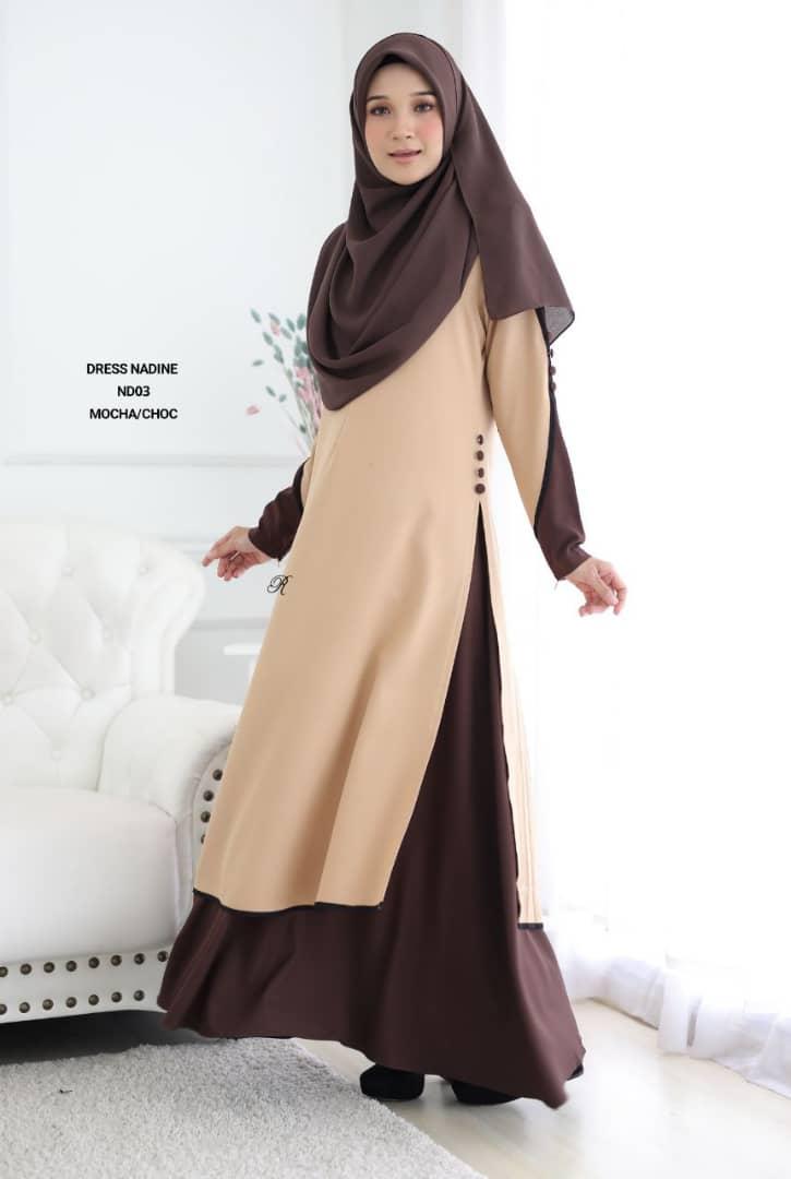 DRESS MUSLIMAH TERKINI CREPE NADINE ND03 1
