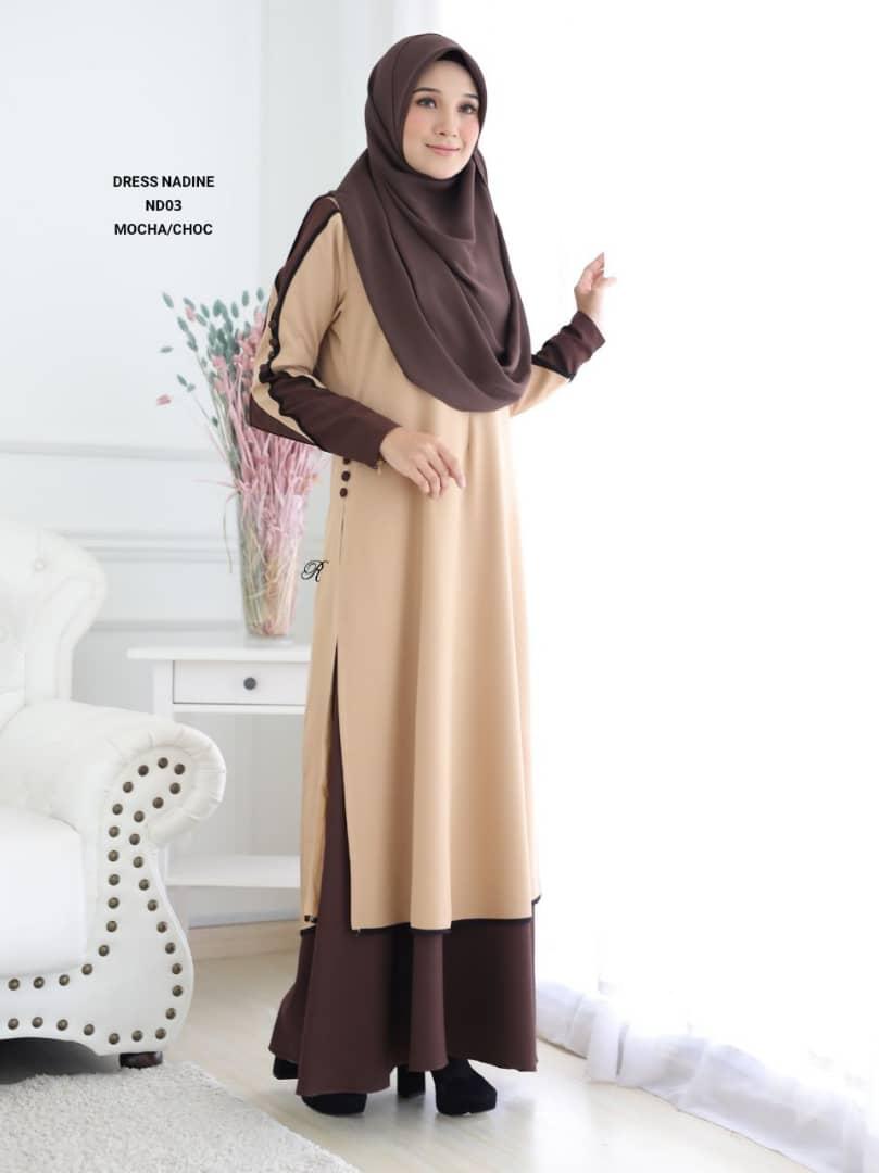 DRESS MUSLIMAH TERKINI CREPE NADINE ND03 2