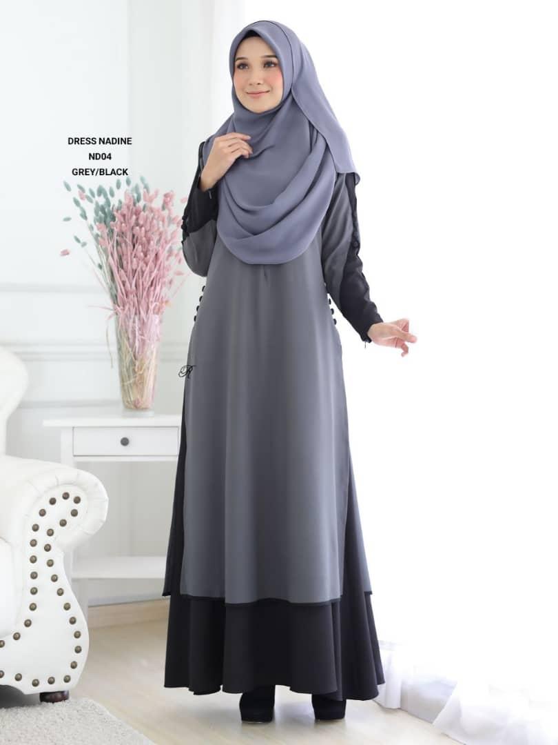 DRESS MUSLIMAH TERKINI CREPE NADINE ND04 1