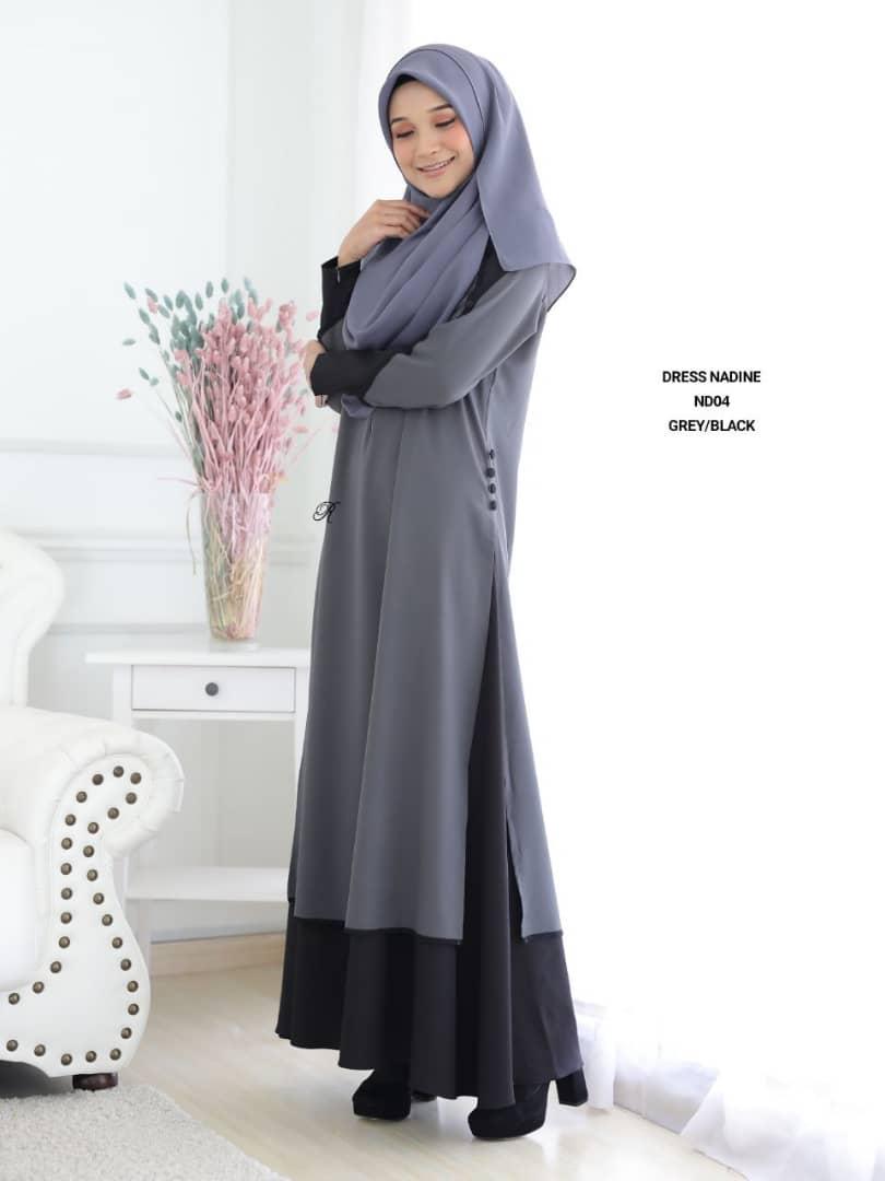 DRESS MUSLIMAH TERKINI CREPE NADINE ND04 3