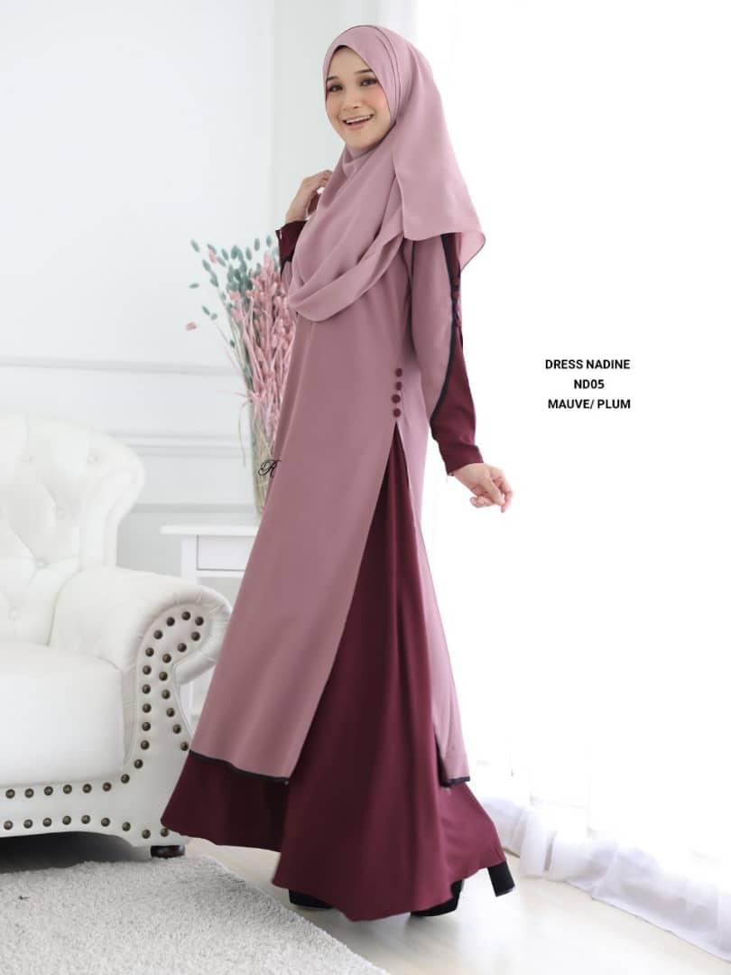 DRESS MUSLIMAH TERKINI CREPE NADINE ND05 1