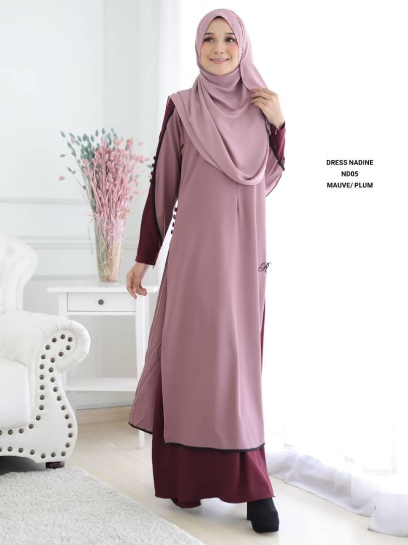 DRESS MUSLIMAH TERKINI CREPE NADINE ND05 2