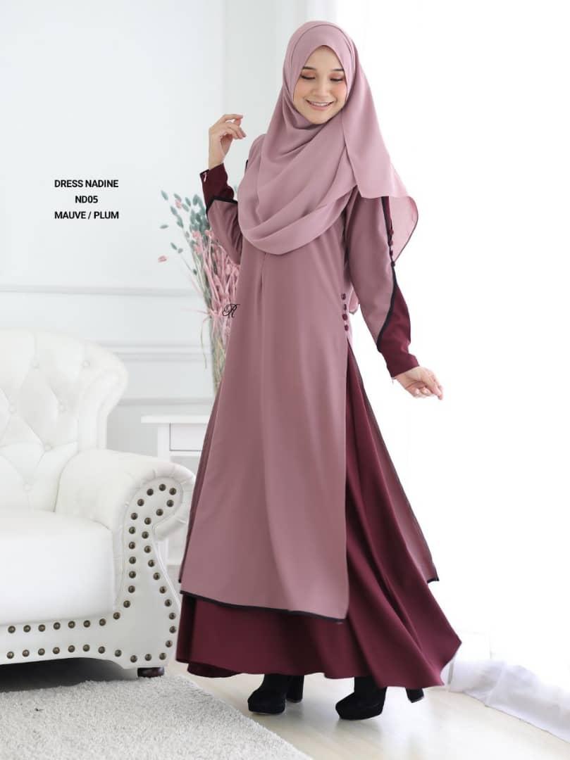 DRESS MUSLIMAH TERKINI CREPE NADINE ND05 3