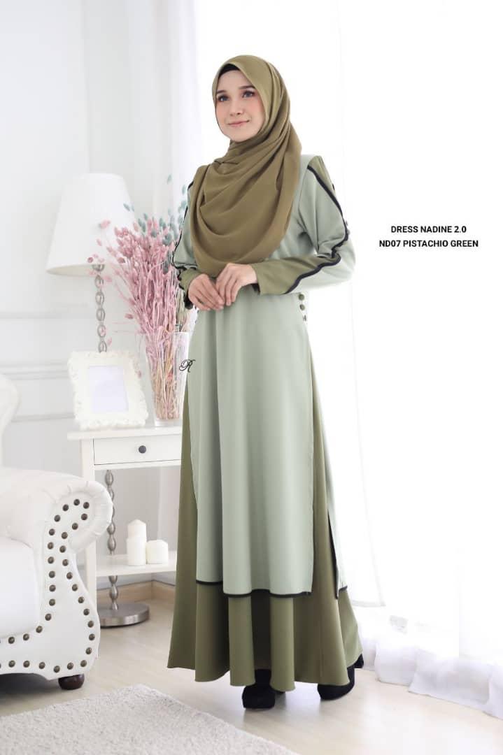 DRESS MUSLIMAH TERKINI NADINE PREMIUM CREPE ND07 1