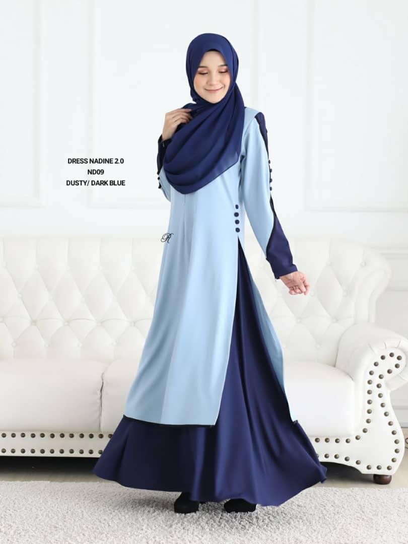 DRESS MUSLIMAH TERKINI NADINE PREMIUM CREPE ND09 1