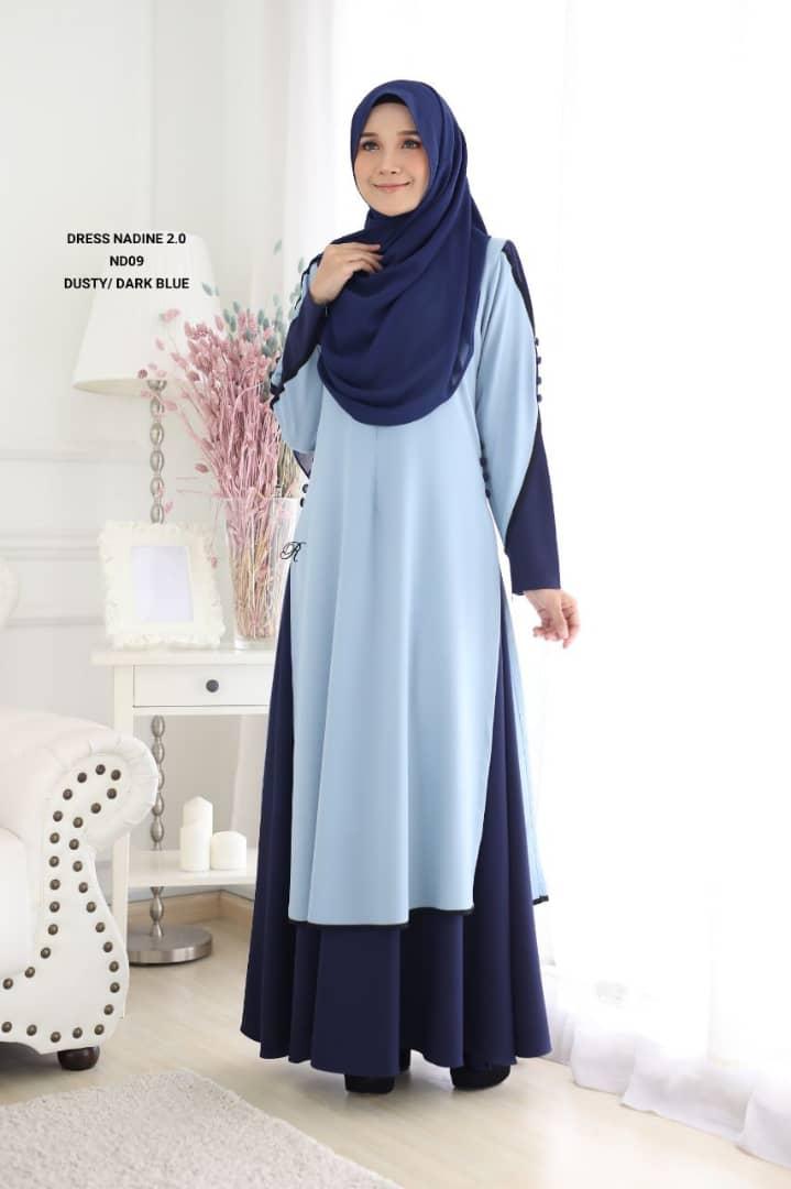 DRESS MUSLIMAH TERKINI NADINE PREMIUM CREPE ND09 2