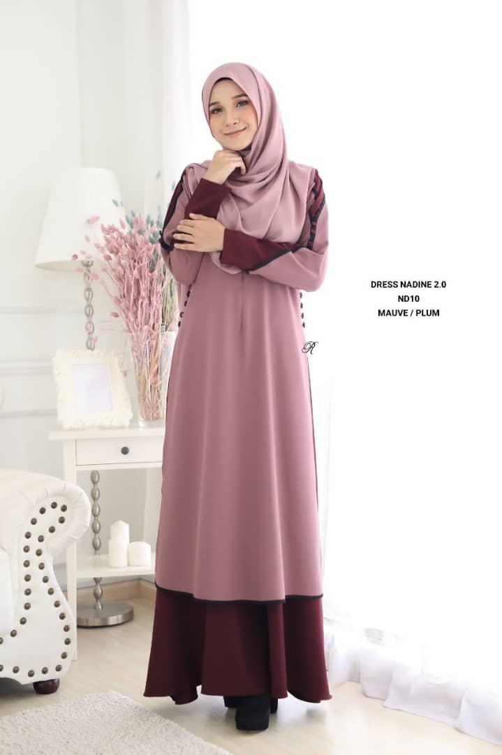 DRESS MUSLIMAH TERKINI NADINE PREMIUM CREPE ND10 1