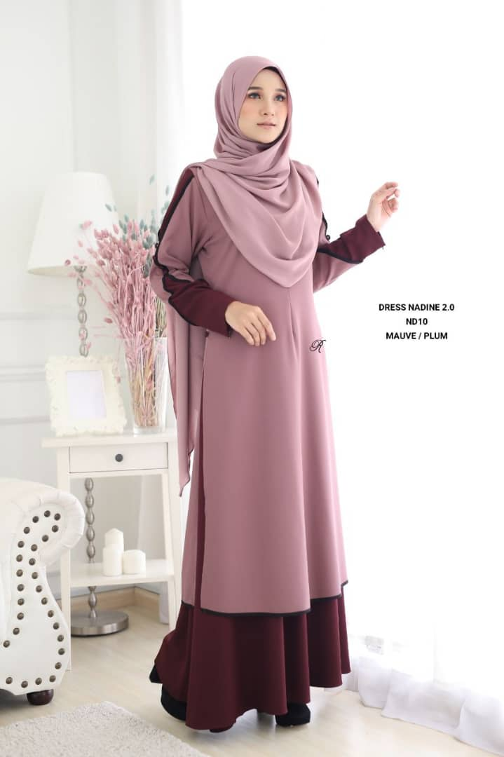 DRESS MUSLIMAH TERKINI NADINE PREMIUM CREPE ND10 2