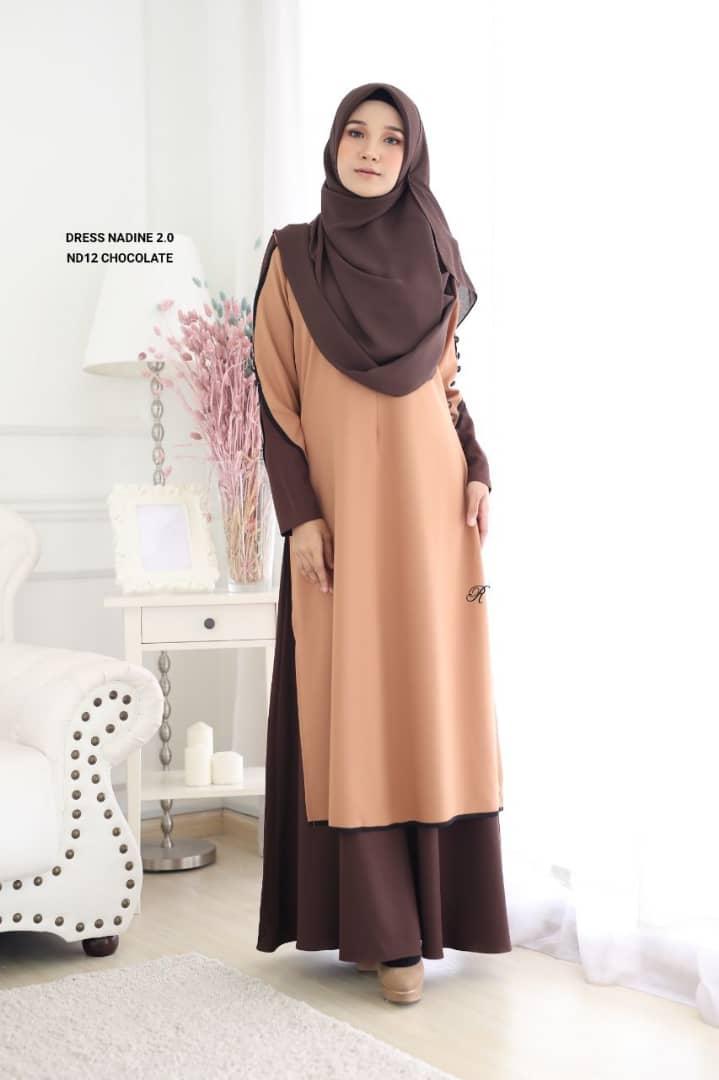 DRESS MUSLIMAH TERKINI NADINE PREMIUM CREPE ND12 1